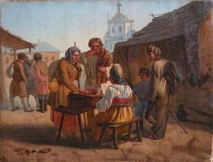 Kwass-verkoop in Moskou (schilderij van Vassiliy Kalistov, 1862).