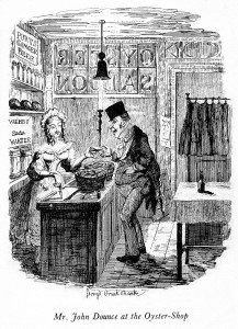 Mr. John Dounce at the oyster-shop (George Cruikshank, 1836).