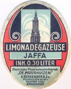 etiket Jaffa limonadegazeuse firma E. Scheerder & Zn. circa 1950