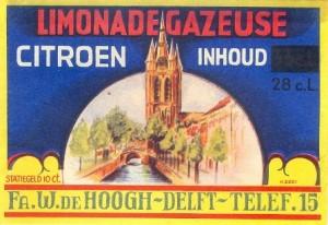 etiket citroenlimonadegazeuse firma W. de Hoogh circa 1955
