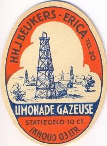 etiket limonadegazeuse firma H.J.J. Beukers circa 1955