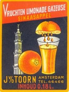 etiket sinaasappelvruchtenlimonade firma J. van den Toorn 1958