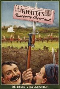 reclameplaat Kwatta's Manoeuvre Chocolaad circa 1916