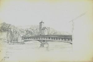 Eglisau, houten brug en kasteel (30-06-1838)
