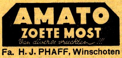 Advertentie voor Amato zoete most, november 1938.