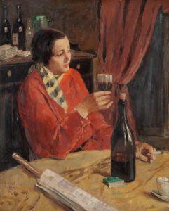 Zelfportret in een café te Parijs (Greta Gerell) 1930