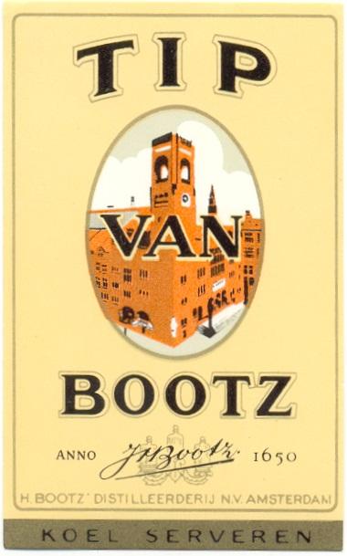 Van 1931 t/m 1968 prijkte op de etiketten van Tip van Bootz een afbeelding van de Beurs van Berlage.